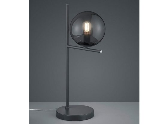 meineWunschleuchte LED Tischleuchte, Außergewöhnliche Designer Lampe mit Lampenschirm Kugel Rauch-Glas, Anthrazit, minimalistisch, mit Schnur-Schalter