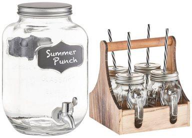 ZELLER Getränkespender und 4 Trinkgläser, Set