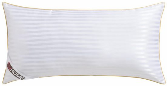 Microfaserkissen, »Samtweicher Jacquard«, my home, Füllung: 100% Polyester, Bezug: 100% Polyester, (1-tlg), Mit edler goldener Biese