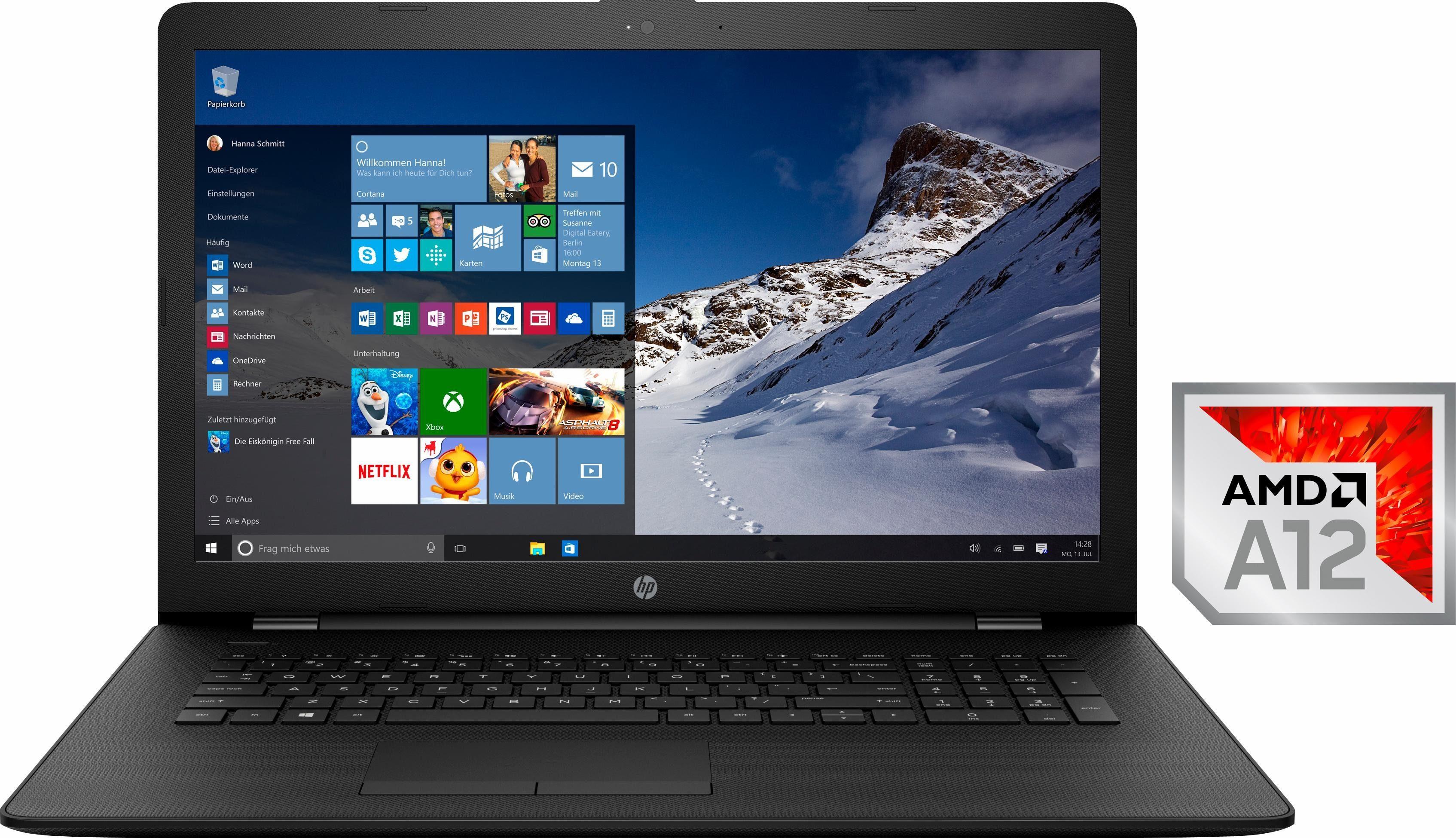 HP 17-ak054ng Notebook, AMD Quad-Core, 43,9 cm (17,3 Zoll), 256 GB Speicher, 8192 MB DDR4-SDRAM