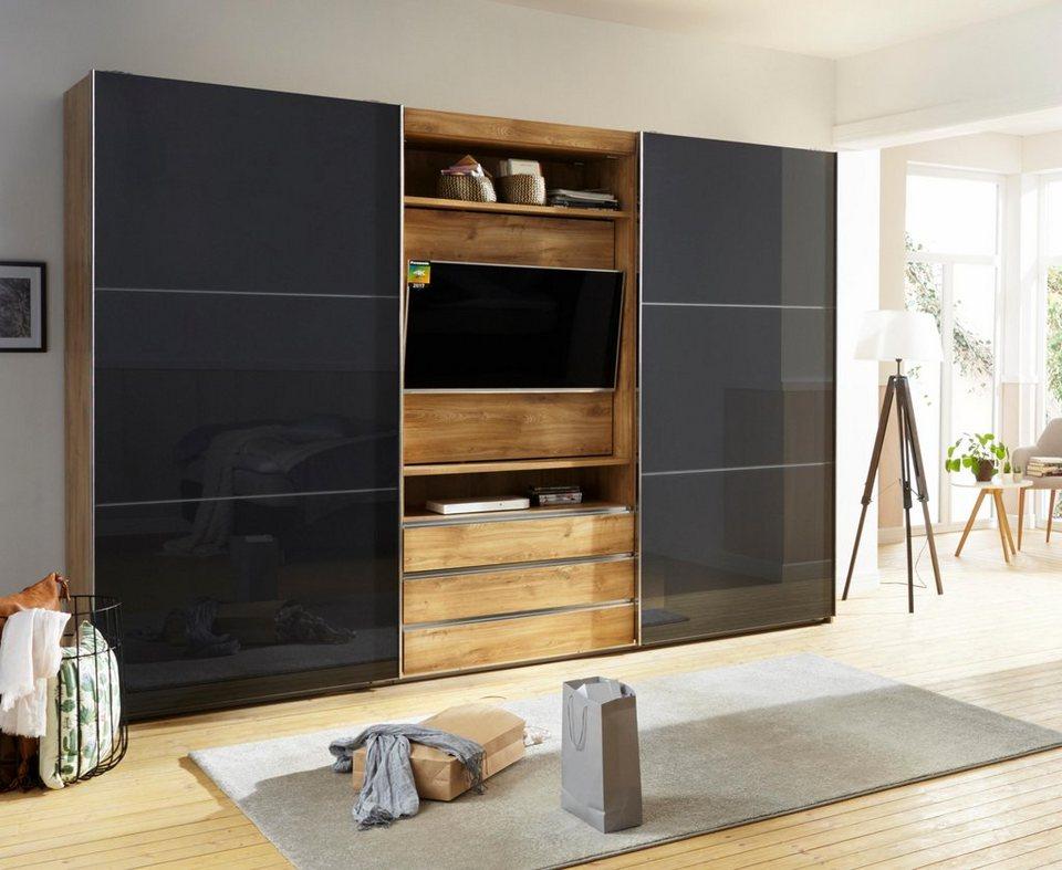 Fresh To Go Schwebetürenschrank Mit Drehbaren TV Element, Außentüren Mit  Glas