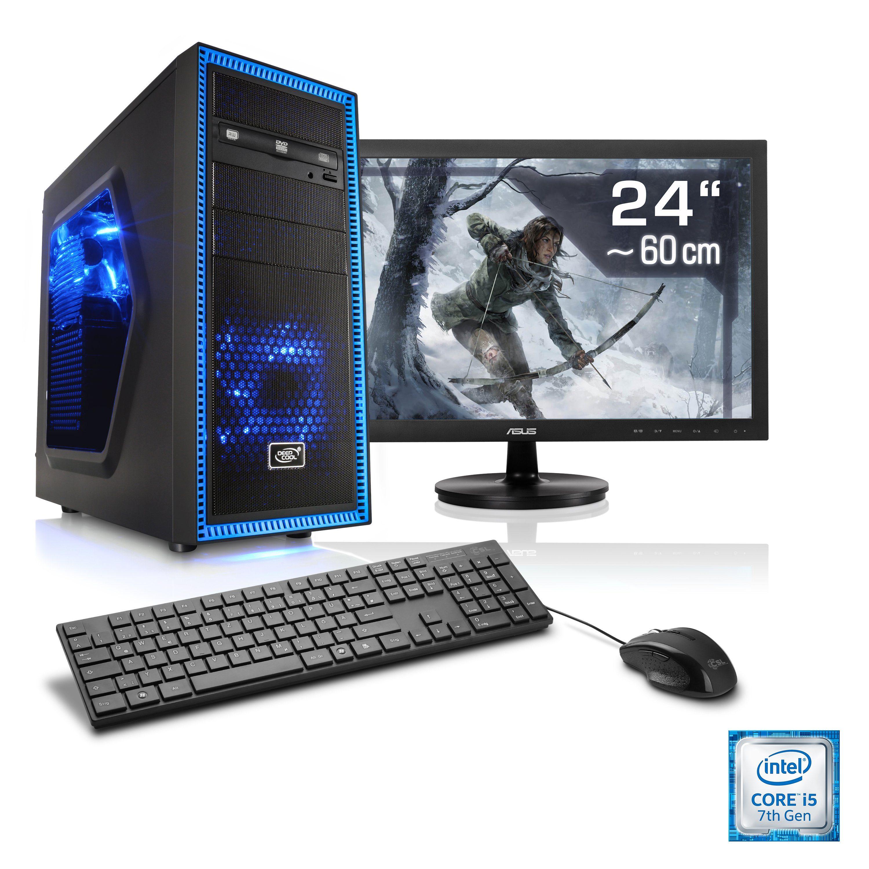 "CSL Gaming PC Set | i5-7400 | GTX 1050 | 16 GB DDR4 RAM | 24"" TFT »Speed T5722 Windows 10 Home«"