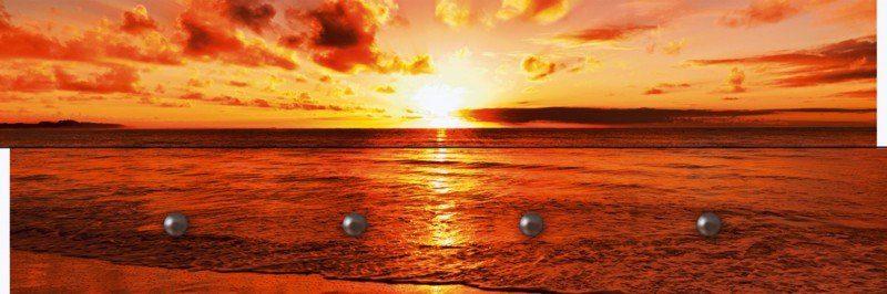 Artland Wandgarderobe »Landschaften Gewässer Meer Fotografie Orange«