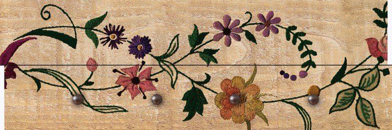 Artland Wandgarderobe »Riweda: Blumen auf Holzoptik«