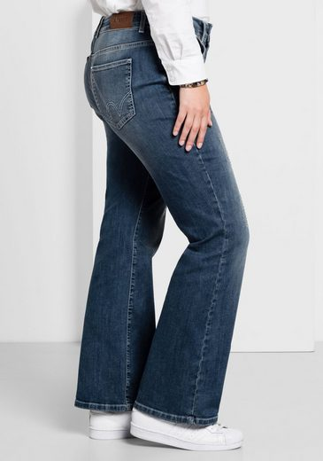 sheego Denim Stretch-Jeans, Destroyed-Effekte und Glitzersteinchen