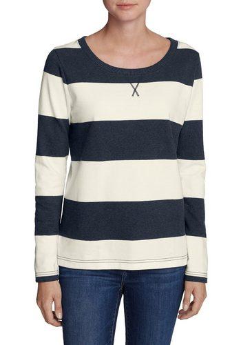 Damen Eddie Bauer Sweatshirt Sweatshirt mit Rugby-Streifen blau | 04057682160474