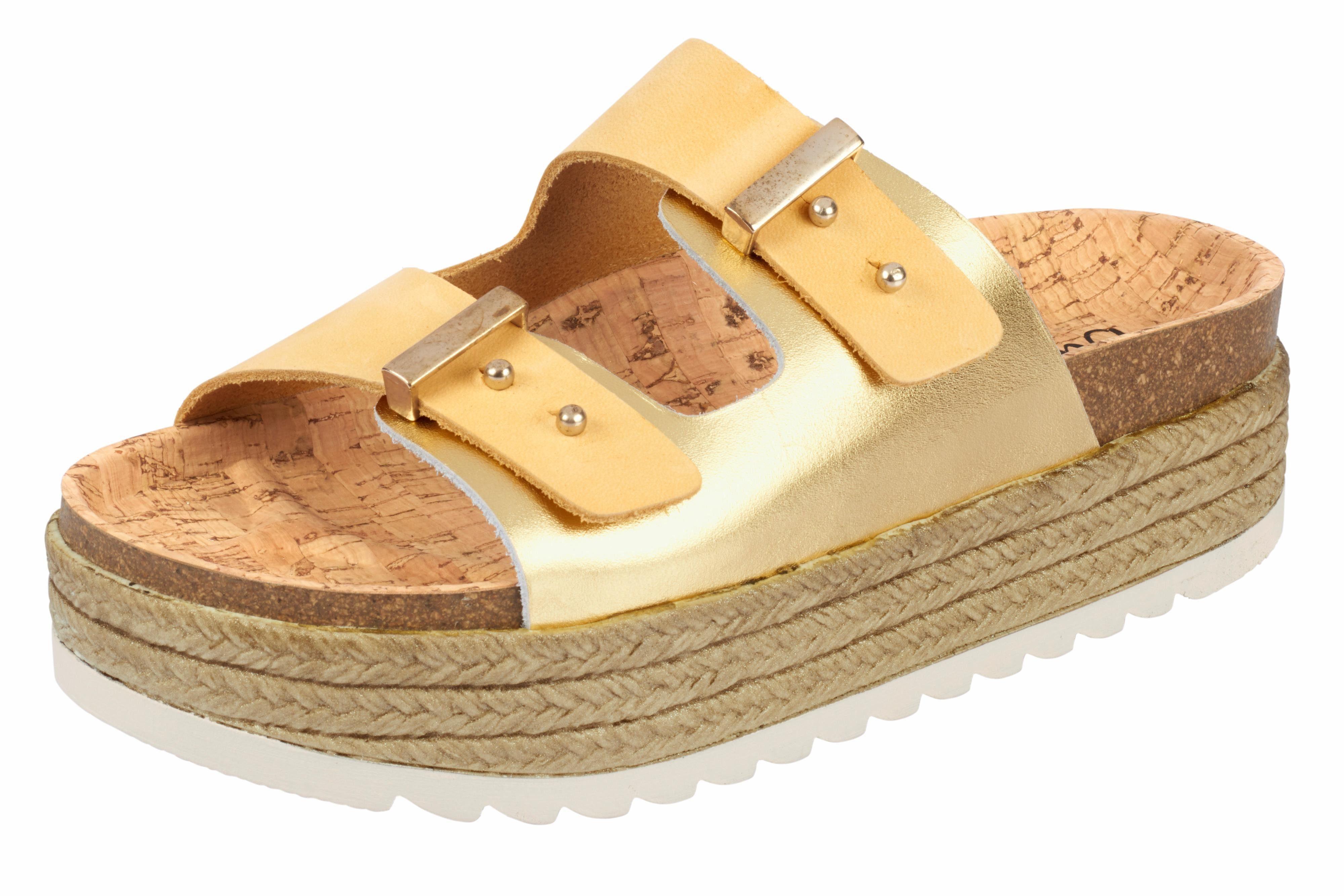 BIOSTEP Pantolette mit Kork-Fußbett online kaufen  goldfarben