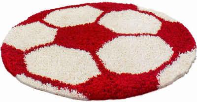 Kinderteppich »Fun 6001«, Ayyildiz, rund, Höhe 30 mm, Fußball Design