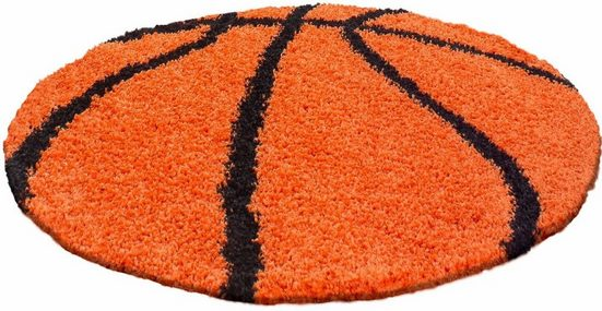 Kinderteppich »Fun 6002«, Ayyildiz, rund, Höhe 30 mm, Basketball Motiv