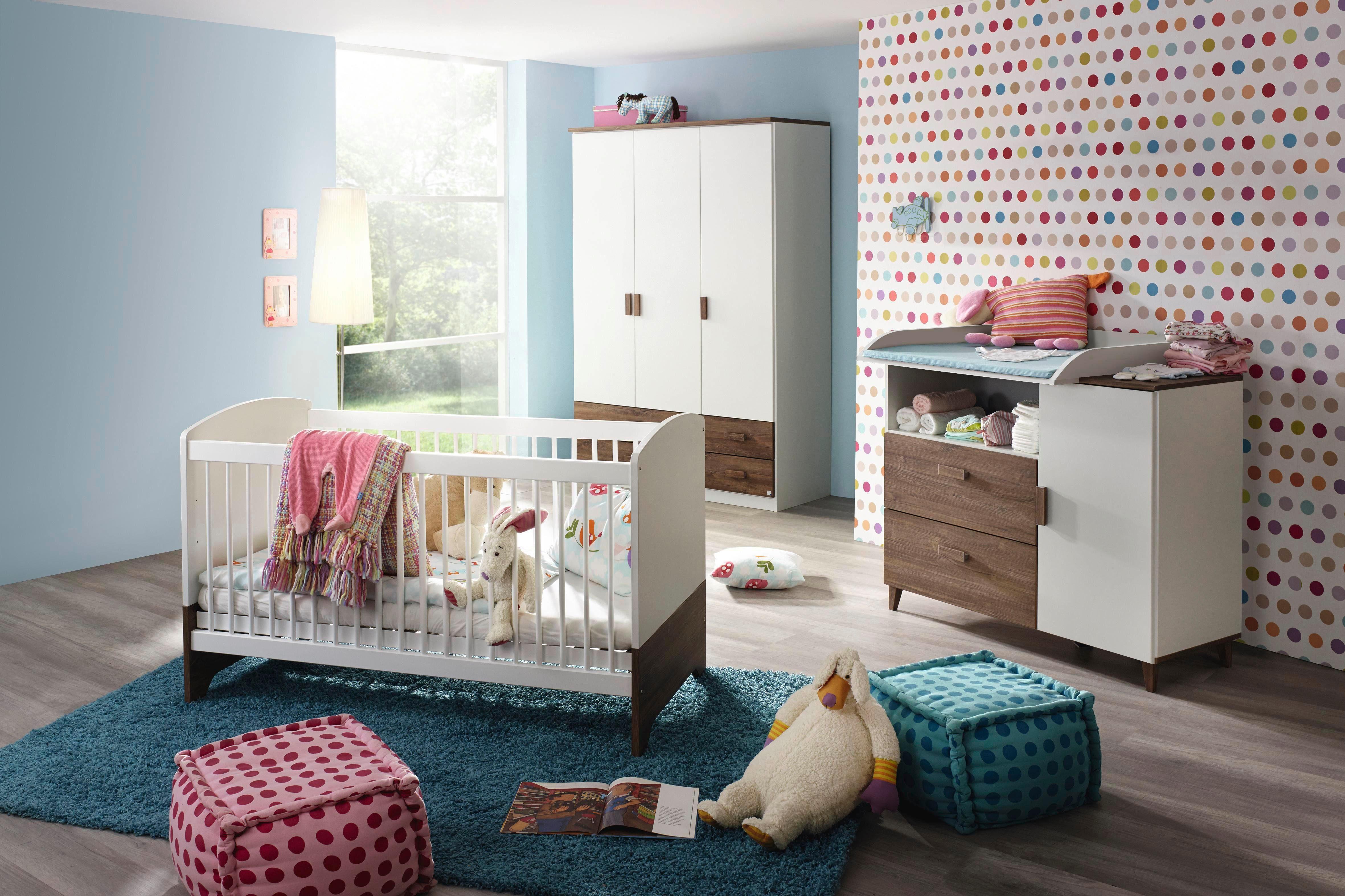 Komplett Babyzimmer »Lyon« Babybett + Wickelkommode + Kleiderschrank, (3-tlg.)