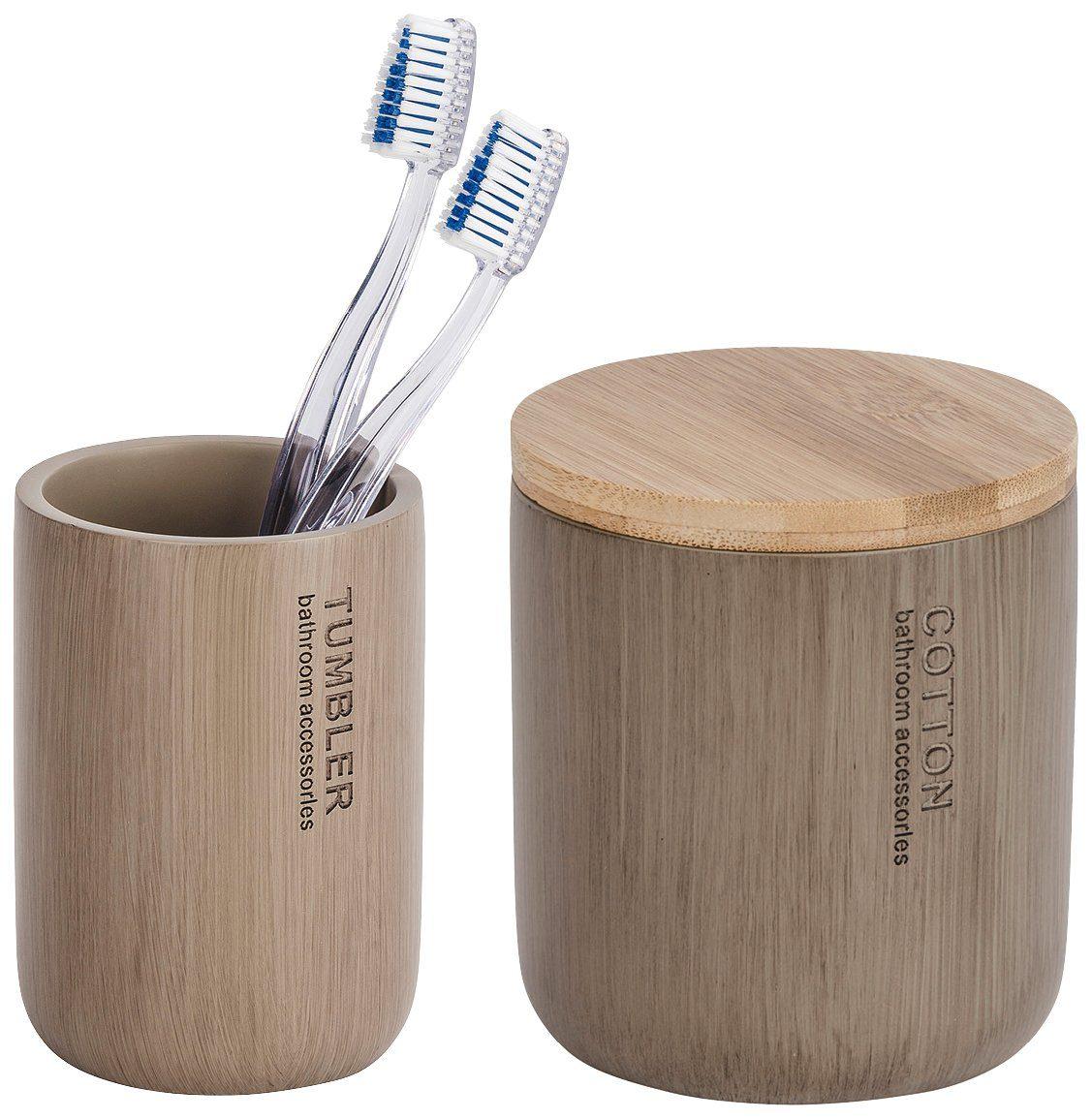 WENKO Bad-Accessoire-Set »Palo«, 2-teilig, Bambus