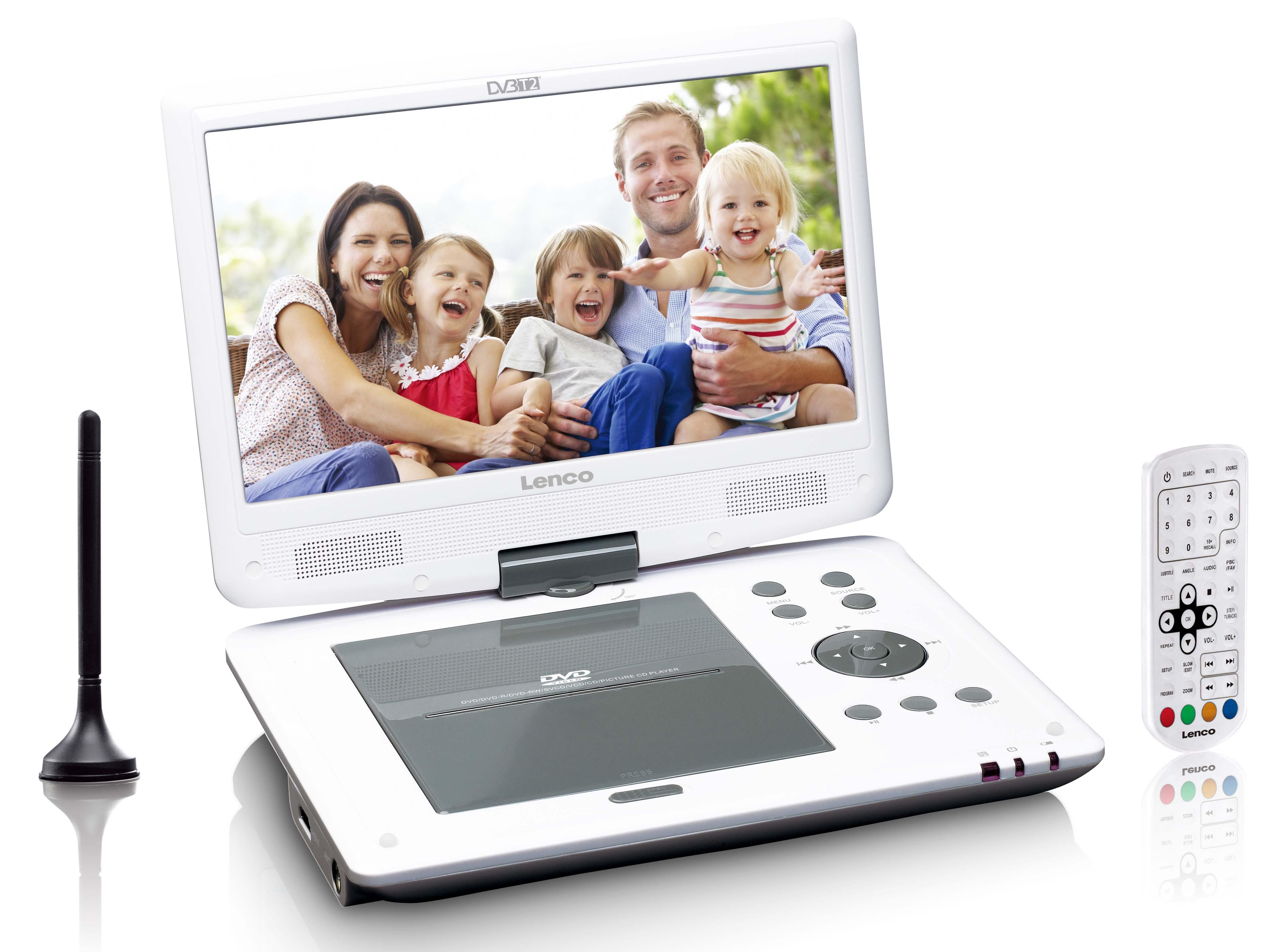 Lenco Tragbarer DVD Player mit DVB-T2 und Halterung fürs Auto »DVP-1063WH«