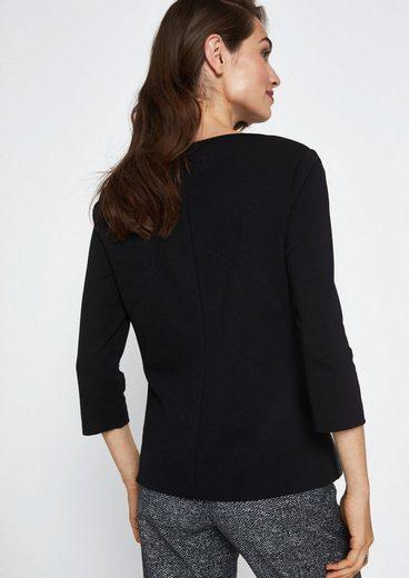 COMMA Extravagantes 3/4-Arm Shirt mit Fake-Leder Elementen
