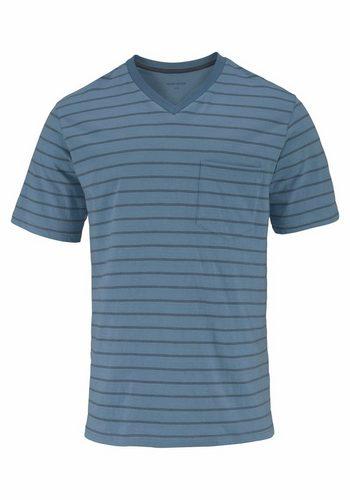 Herren Seidensticker Pyjama kurz Shorty Streifen blau   04047067432159