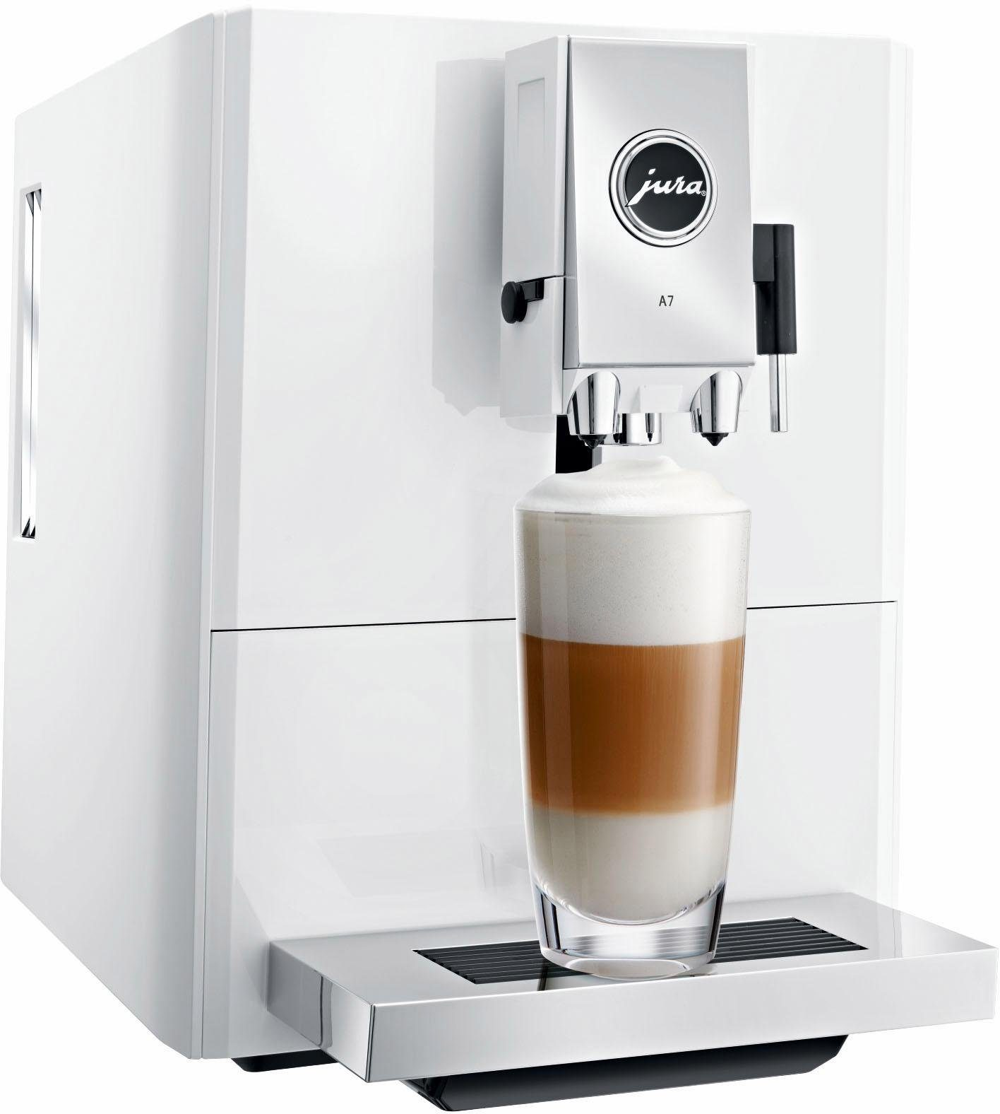 Jura Kaffeevollautomat 15125 A7 Piano White, 1,1l Tank, Kegelmahlwerk