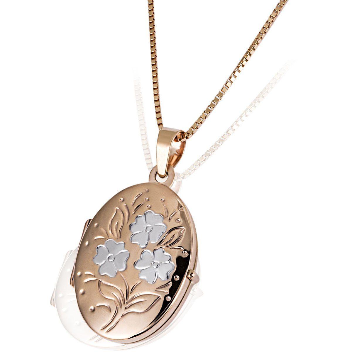 goldmaid Collier Medaillon Blumenmuster 375/- Rotgold