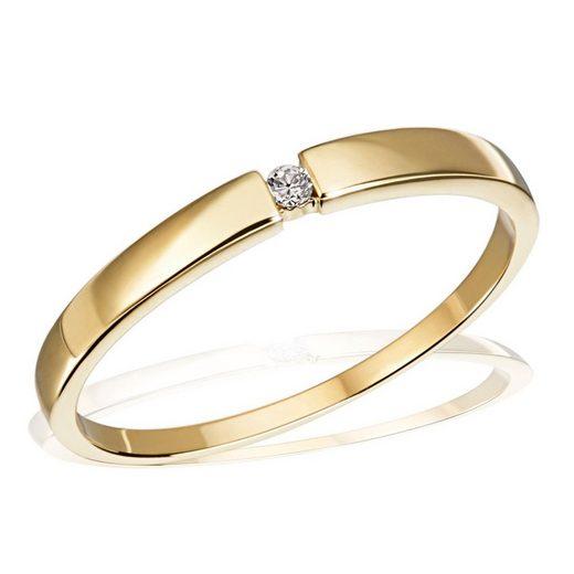 goldmaid Damenring Solitär 333/- Gelbgold 1 Brillant 0,03 ct. P1/KL