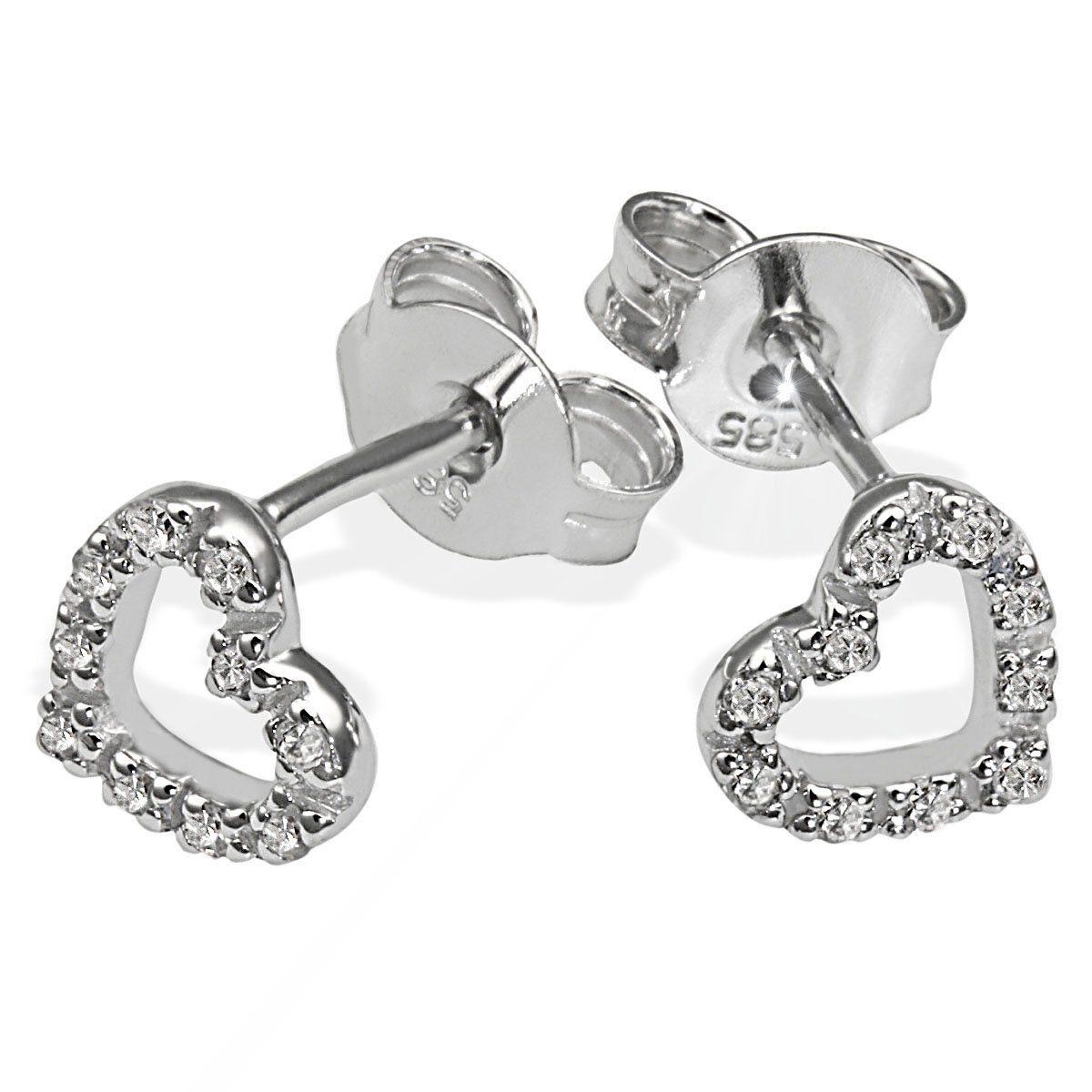 goldmaid Paar Ohrstecker 375/- Weißgold 20 Diamanten Herz