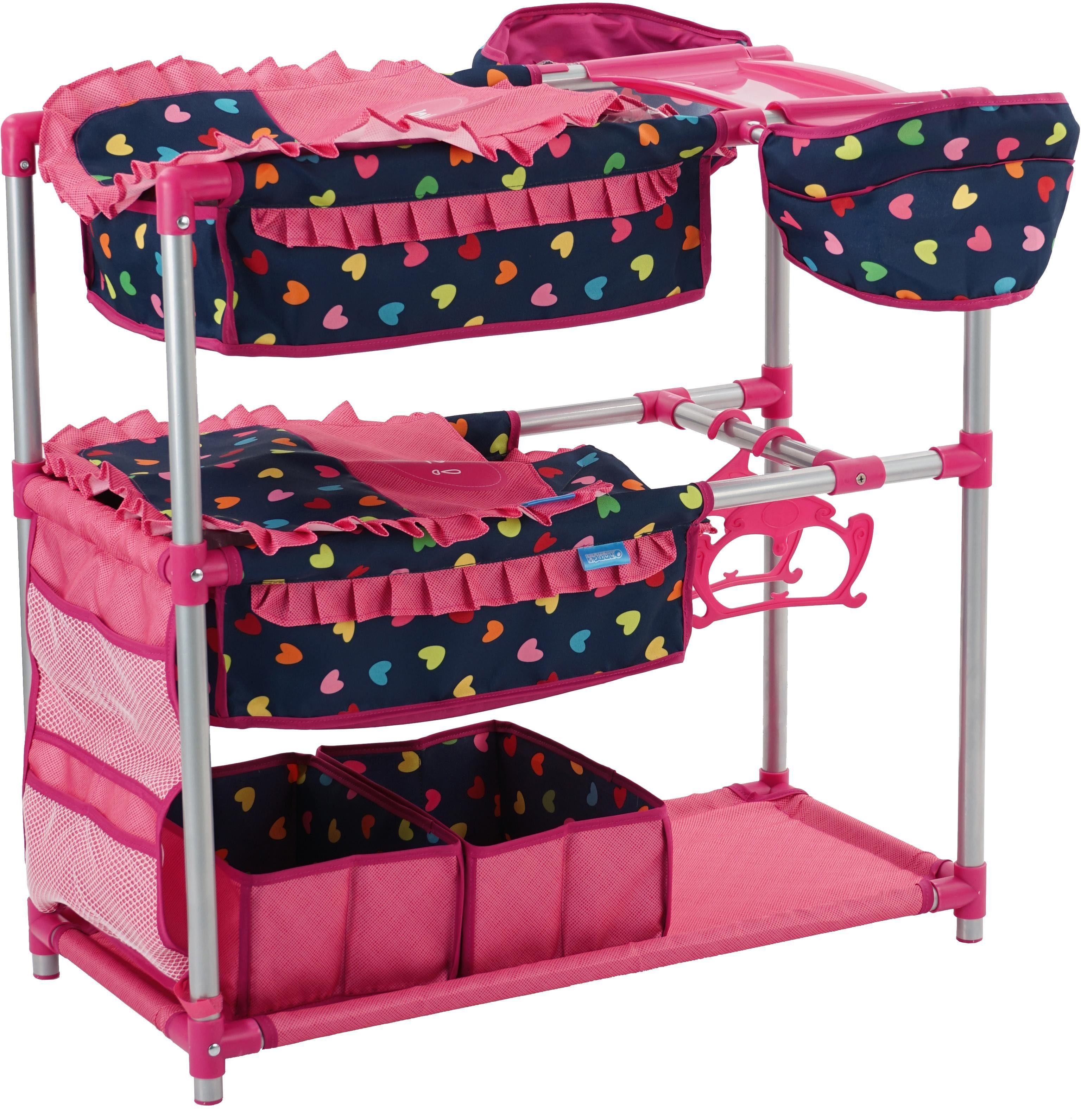 hauck TOYS FOR KIDS Zwillings Puppenbett mit Hochstuhl, »Twin Doll Station, Love Navy«