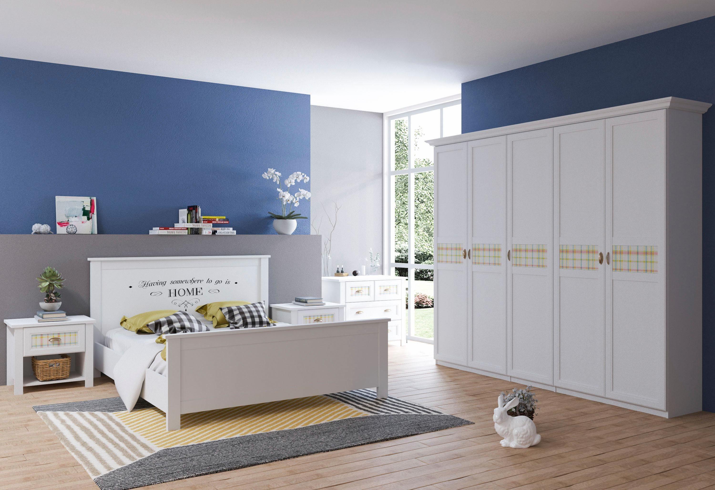 Home affaire Schlafzimmerset »Sonya« 4-tlg., mit dekorativen Glaseinsätzen im Karomuster