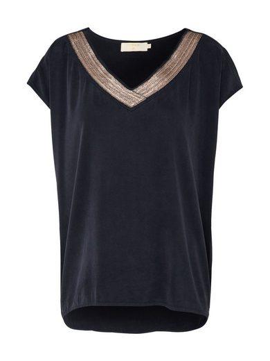 Crème V-shirt Laila, Pailletten