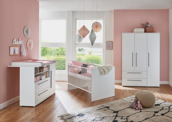 Babyzimmer-Komplettset »Romy«, (Set, 3-St), Made in Germany; mit Kinderbett, Schrank und Wickelkommode