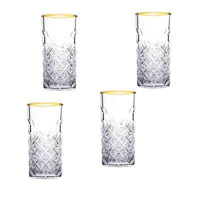 Pasabahce Gläser-Set »Timeless Golden Touch Long 4er Glas«, Glas