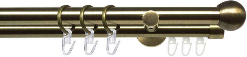 Gardinenstange »Stilgarnitur 20 mm Blues Kugel«, Liedeco, Ø 2 mm, 2-läufig, Fixmaß, Gardinenstange Komplett