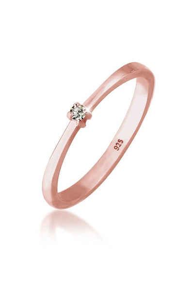 Elli Fingerring »Solitär Klassisch Swarovski® Kristalle 925 Silber«, Solitär Ring
