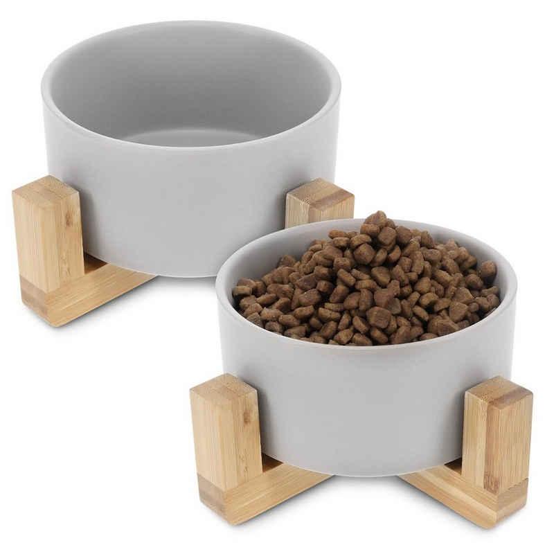 Navaris Napf-Set, Keramik, 2x Futternapf Katze mit Bambus Halter - Futterstation 2x Keramiknapf für Katzen Hunde - Keramik Fressnapf Set Futterbar mit Holz Halterung