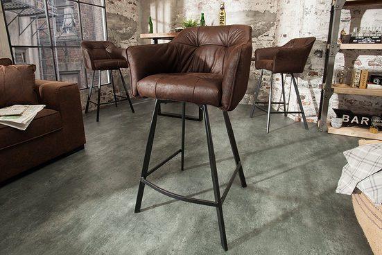 riess-ambiente Barhocker »LOFT 100cm antik braun«, mit Fußablage