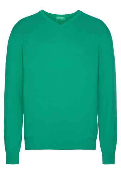 United Colors of Benetton V-Ausschnitt-Pullover unifarben