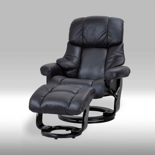 ebuy24 Relaxsessel »Camo Liegesessel in echten schwarzen Leder mit Fuß«