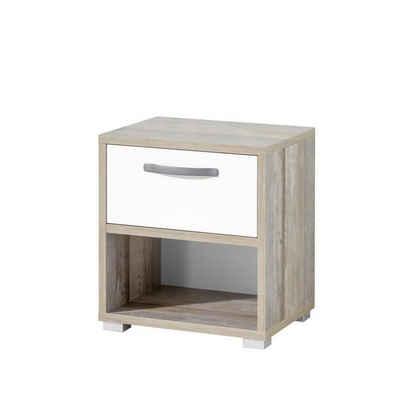 Lomadox Nachtschrank »MAUI-78« Jugendzimmer Nachtkommode in Driftwood Nb. mit weiß, B/H/T: 49/52/41cm
