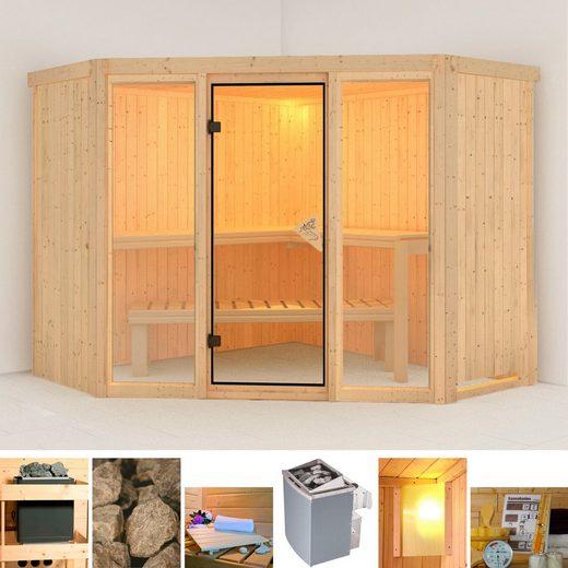 Karibu Sauna »Flora 2«, BxTxH: 231 x 231 x 198 cm, 68 mm, 9 kW Ofen mit int. Steuerung