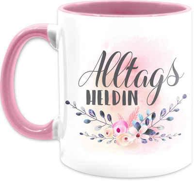 Shirtracer Tasse »Alltagsheldin floral - Muttertagsgeschenk Tasse - Tasse zweifarbig«, Keramik