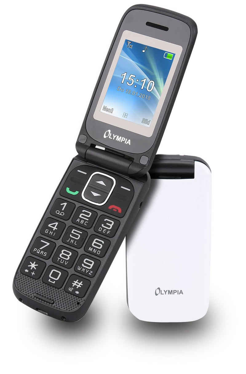 "OLYMPIA OFFICE Classic Mini II Großtasten-Mobiltelefon Seniorenhandy (2 Zoll, große Tasten, Klapphandy, Großtastenhandy, Senioren, Rentner, Handy, Ladestation, SOS Notruf Taste, Bildkurzwahl, Freisprechen, FM Radio, Kamera, Bluetooth, 2,0"" Farb-Display, weiß (2252)"