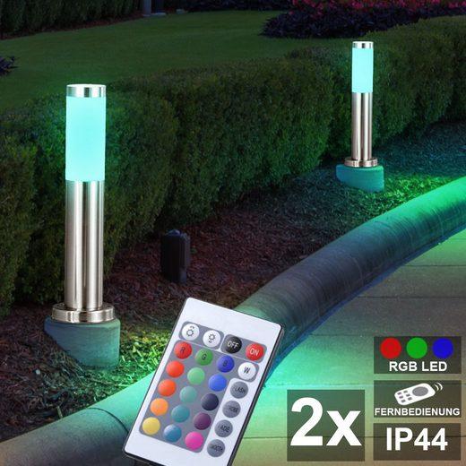 etc-shop LED Außen-Stehlampe, 2er Set RGB LED Außen Steh Leuchten dimmbar FERNBEDIENUNG Edelstahl Garten Weg Lampen Terrasse