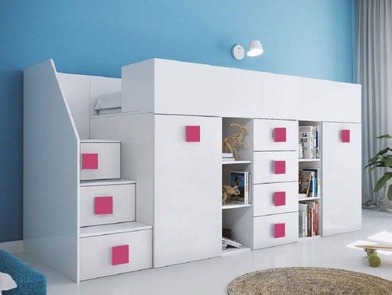 Feldmann-Wohnen Hochbett »TOLEDO 3« (Etagenbett mit Schreibtisch + Kleiderschrank) Farbe wählbar - Treppe links