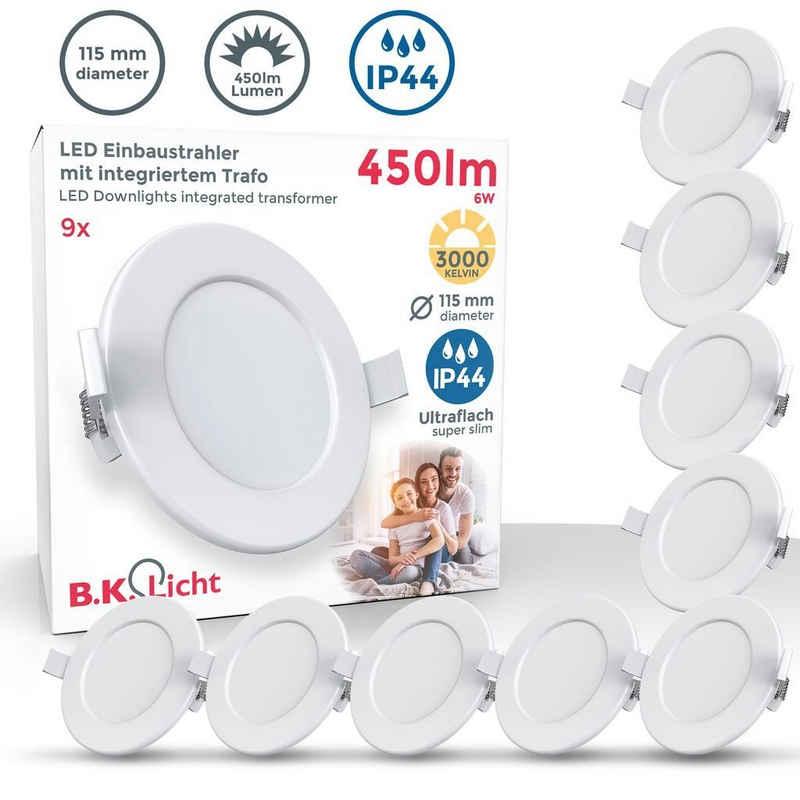 B.K.Licht LED Einbaustrahler »BKL1274«, LED Bad Einbauleuchten, 9er Set, Ultra Flach 30mm, Ø11.5cm, Weiß, 9 x 6W LED Platinen, 9x 450 Lumen, 3.000K Warmweiß, IP44, Bad- Einbaustrahler, Badspots, Deckenspots