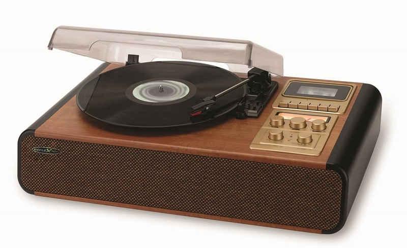 Reflexion »HIF1975BT« Plattenspieler (Direktantrieb, im Echtholzgehäuse mit Bluetooth, Kassette, AUX IN, Cinch Ausgang & UKW-Radio)