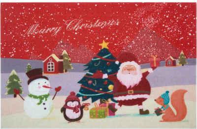 Fußmatte »Weihnachten«, Home affaire, rechteckig, Höhe 6 mm, Schmutzmatte, mit Spruch, In- und Outdoor geeignet