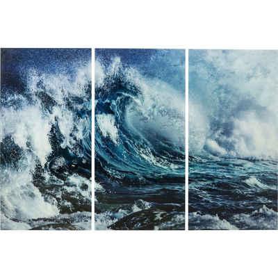 KARE Dekoobjekt »Bild Glas Triptychon Wave 160x240cm 3Set«