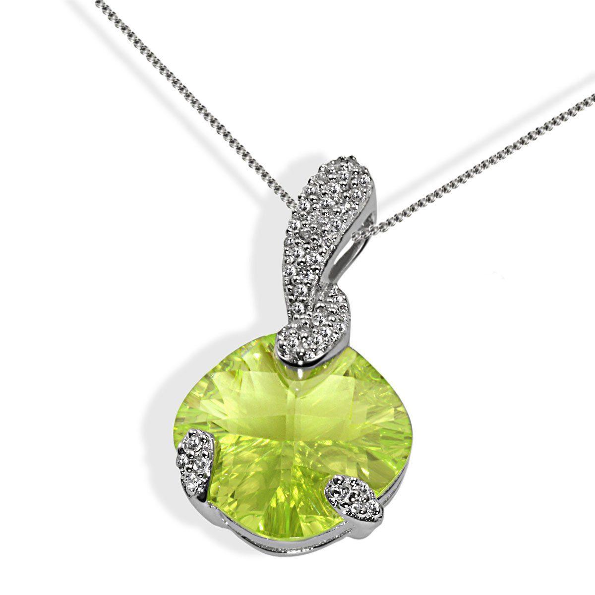 goldmaid Collier Silber 925/- hellgrüner und klare Zirkonia oval - broschei