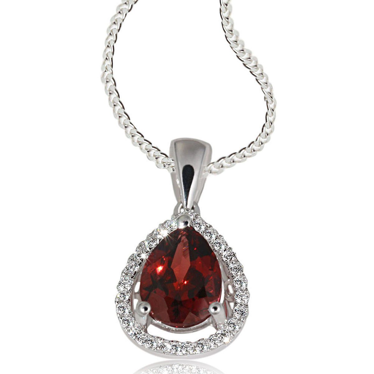 goldmaid Collier Silber 925/- Granat Tropfen Zirkonia PremiumShine