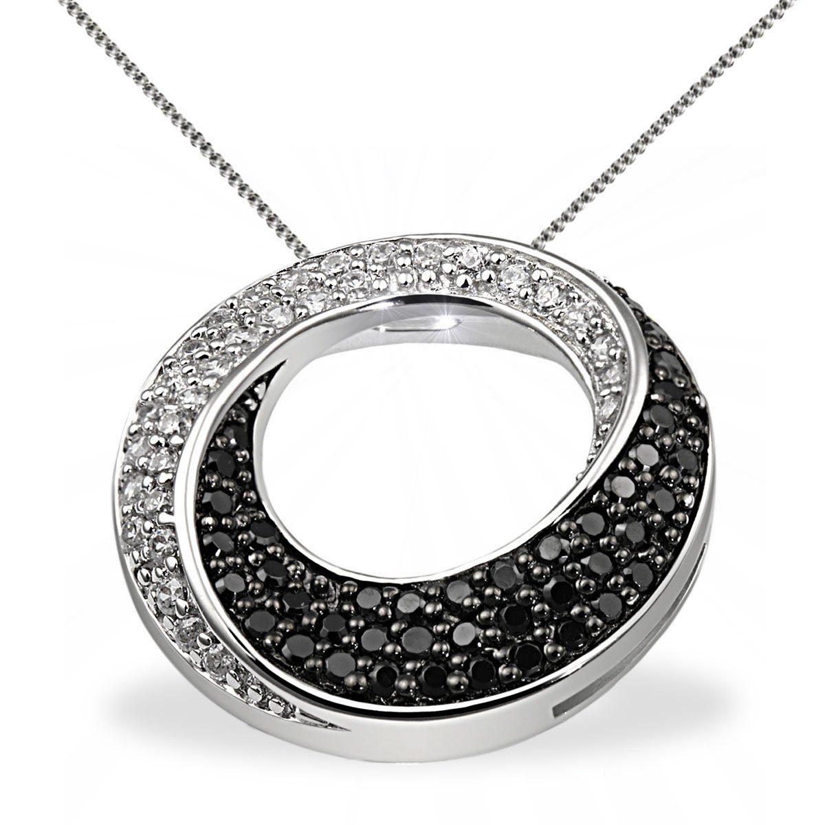 goldmaid Collier Silber 925 schwarz weisse Zirkonia gedrehte Form