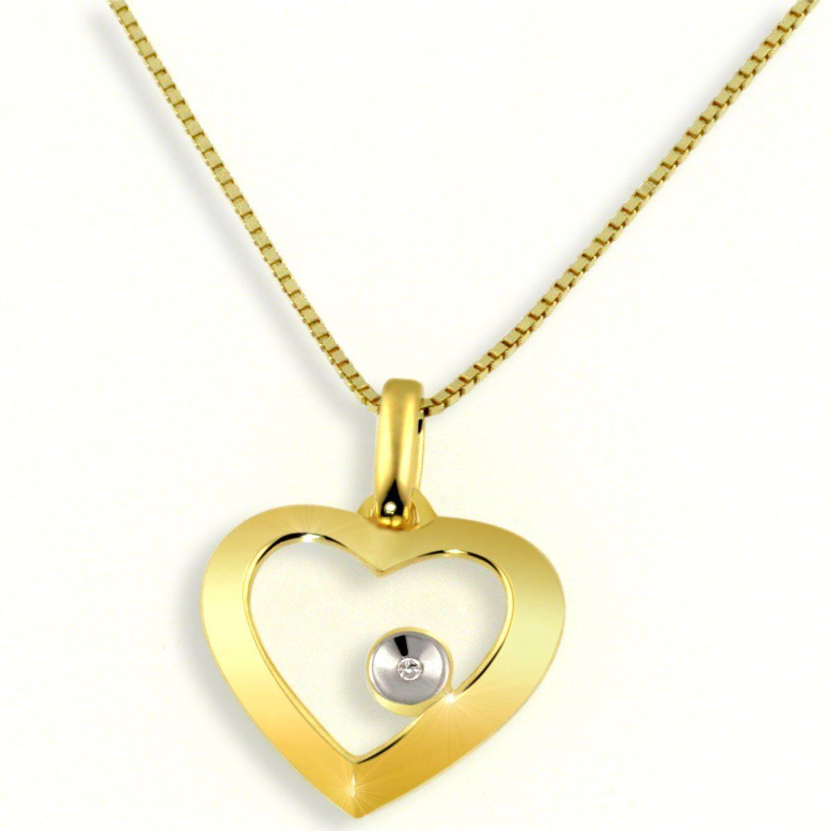 Averdin Collier Gelbgold 585/- Herz mit Diamant