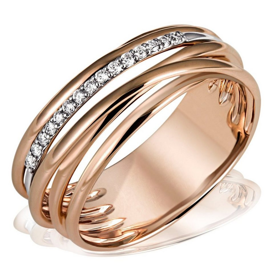 goldmaid damenring 585 rotgold 15 diamant 0 11 ct si h. Black Bedroom Furniture Sets. Home Design Ideas