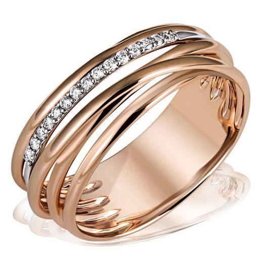goldmaid Damenring 585/- Rotgold 15 Diamant 0,11 ct. SI/H