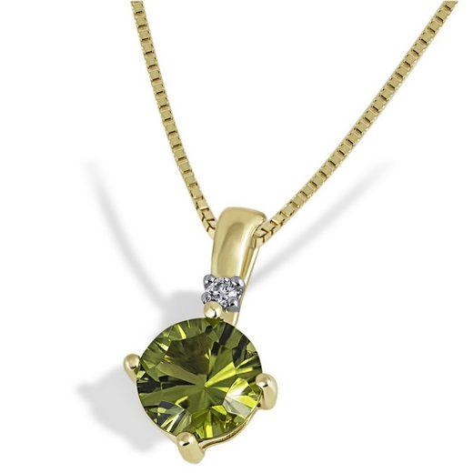 goldmaid Collier 375/- Gelbgold 1 Peridot 1 Brillant 0,03 ct.